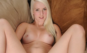 First time blonde Darcie Belle strips off skirt and spreads bald cunt