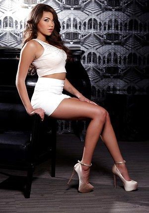 Latina babe Cassidy Banks looking fine in mini skirt and high heels