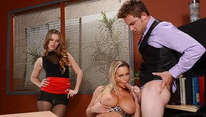 Two horny office sluts fake dick in juicy cunts and filthy assholes
