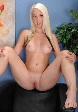 Sweet 18 year old blonde strips totally naked and spreads shaved cunt