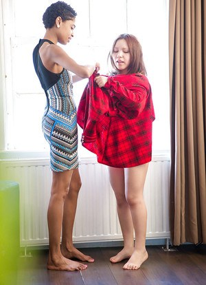 Amateur lesbians Luna and Maylin helping each other get dressed