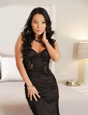Oriental babe Asa Akira stripping naked except for high heels