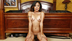 Asian housewife Kaylani Lei gives POV blowjob with messy cum facial ending