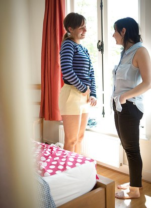 Busty girls Brooklyn and Rosa M dressing large all natural tits after sex