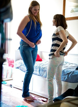 Lesbian amateurs Lulu and Marleen S helping each other get dressed