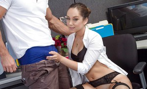 Office cutie Remy LaCroix giving a big dick a blowjob and swallowing cum