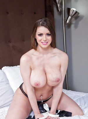 Big tit brunette Brooklyn Chase showing off her shaved wet pussy