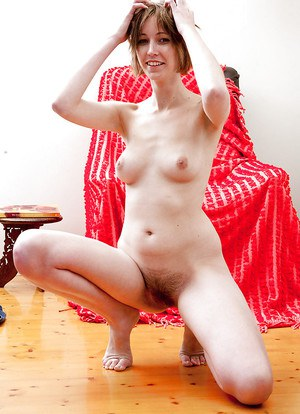 Pale natural babe Jodie C is an amateur with a hairy pussy