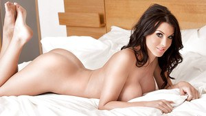 Buxom babe Alice Goodwin flaunting huge knockers in panties and high heels