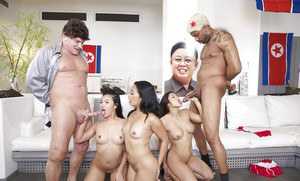Asian whores Chanel Preston, Lucky Starr and Cindy Starfall sucking dick