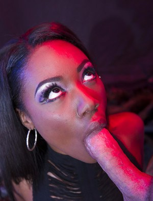 Hot black chick Chanell Heart gets on knees to give hung white cock blowjob