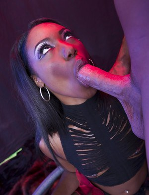 Close ups of ebony pornstar Chanell Heart deepthroating a white cock