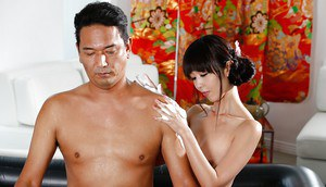 Asian man receives happy ending massage from Japanese Geisha Marica Hase