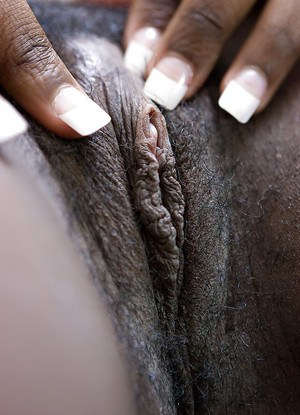 Amateur ebony first timer Marika parts black pussy to spread pink parts