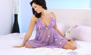 Brunette amateur Tess posing in sexy purple lingerie and spreading pussy