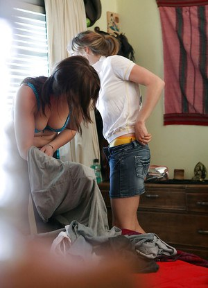 Slutty lesbian teens Greta and Jamie Lee helping each other get dressed