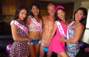 Thai girlfriends sucking off male strippers at wild bachelorette party