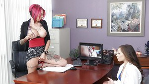 Young girl is forced to suck big strapon and Domme's tattooed cunt
