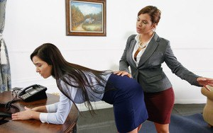 Young secretary is punished with big strapon from wicked boss lady