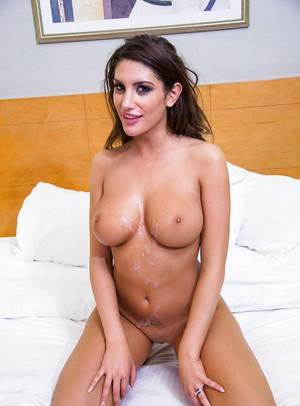 Side view of curvy pornstar August Ames wrapping filthy lips around cock