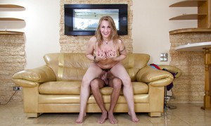 Thick amateur cougar Dana Karnevali flashing hairy pussy to younger man