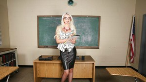 Blonde teacher Gigi Allens removes leather skirt and panties in classroom