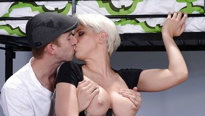 Busty young coeds Dylan Phoenix and Molly Jane get in a threesome