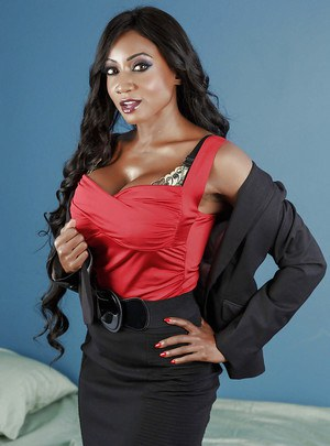 Black mom Diamond Jackson does a slow tease in taking off business suit