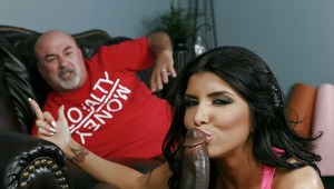 Latina housewife Romi Rain giving blowjob to huge black penis