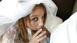 New bride Stacey Hopkins sucking cock and taking cumshot on bridal veil