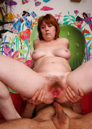 Hairy mature amateur Strekoza getting drilled by a young stud