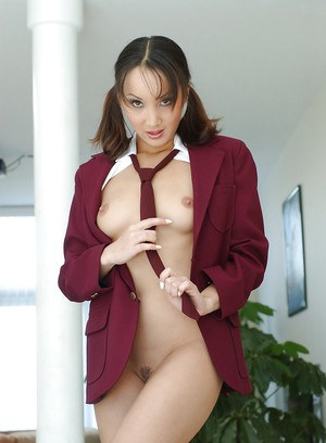 Skinny Asian schoolgirl Katsuni stripping and exposing her trimmed cunt