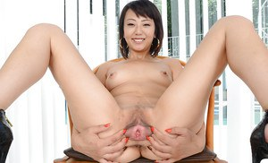 First time Asian chick Miko Dai drops shorts to spread pink vagina