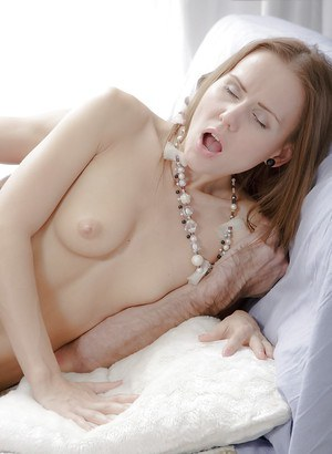 Skinny chick Sabrina sits on boyfriend's face for full on cunt lapping