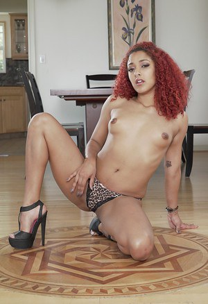 Ebony babe Daisy Ducati posing in matched bra and panty set plus high heels