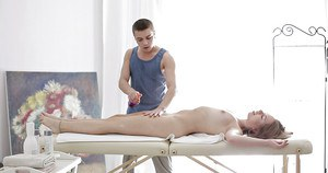 Young hottie Avery receiving full body massage and painful penetration