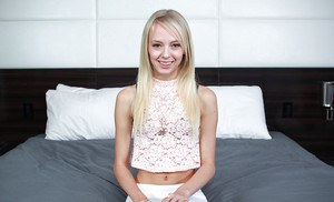 Tiny blonde teen Sierra Nevadah spreading her hot hairless pussy