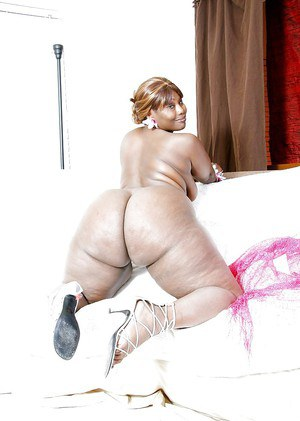 Fatty Ebony pornstar Decollecter showing off her huge ass and tits