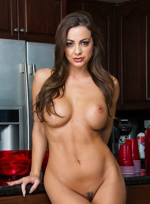Busty housewife Abigail Mac flashing nice large melons in kitchen