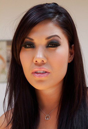 Asian babe London Keyes poses for sexy solo shoot in mesh dress