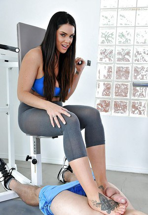 Busty brunette chick Alison Tyler showing off big juggs and tattoos