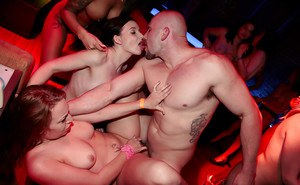 Wild and crazy groupsex action with party girls sucking cock and pussy