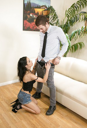Latina pornstar Tia Cyrus giving wicked fully clothed blowjob
