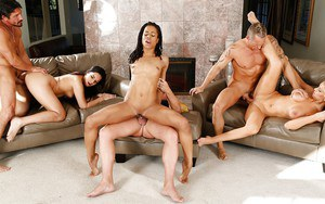 Crazy orgy sex action with white and black chicks swallowing cum