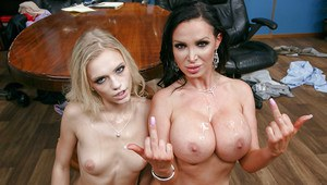Naughty chicks Alex Grey and Nikki Benz suck both white and black cock