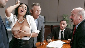 Buxom Latina secretary Missy Martinez giving a tit fucking in office