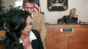 Busty MILF Nikki Benz giving and receiving oral sex in courtroom