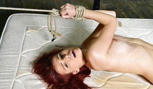 Cruel lesbian domination with bound female taking painful anal insertion