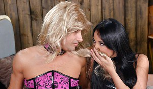 Top rated babe Anissa Kate giving crossdressing hubby a blowjob