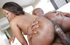 Young black chick Skyler Nicole rides massive black dick for cum on face